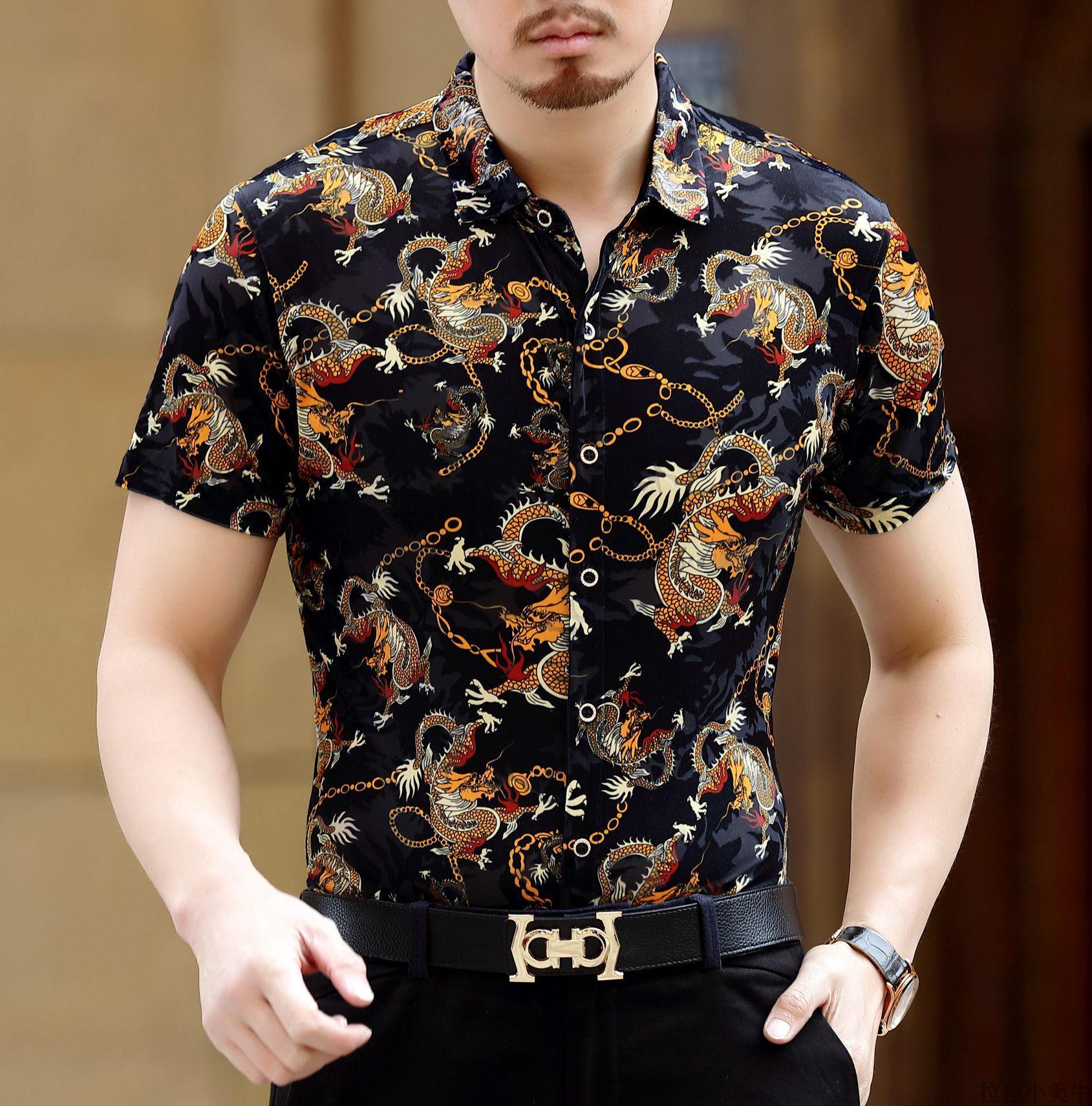 Velvet short sleeved porous thin floral shirt Printed shirt