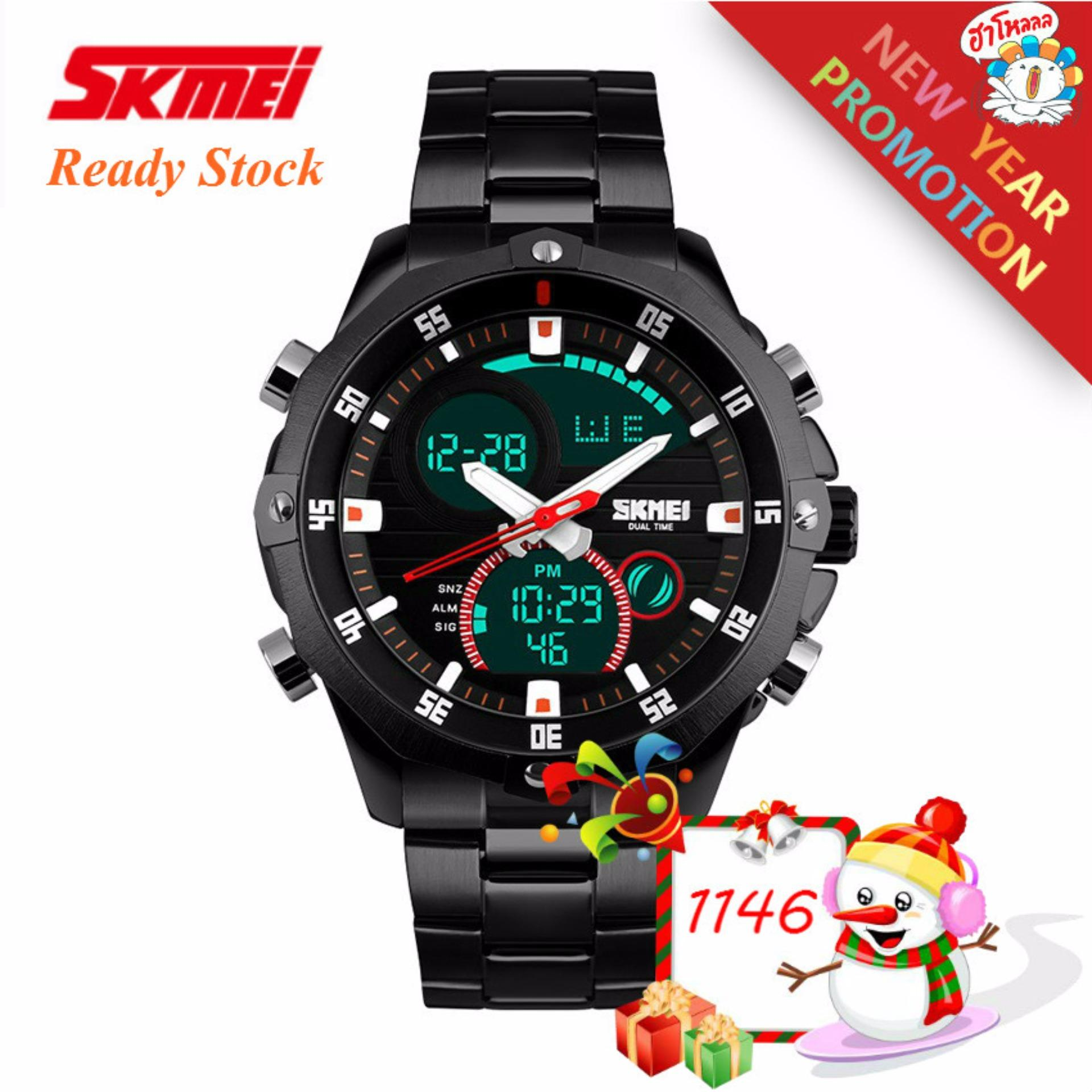 2018 High Quality SKMEI New 1146 s calendar strip watch Men (black) Malaysia