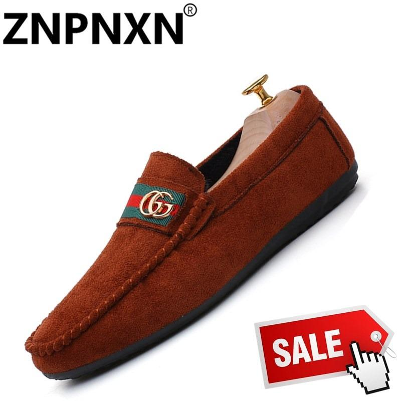 ZNPNXN New Arrivals Men'S Slip-Ons & Loafers Fashion Cowhide Leather Shoes Lelaki Memandu Slip-On Kasut & Kasut LoafersBlack - intl