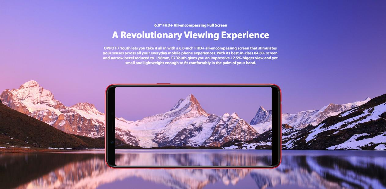 """Image result for oppo f7 youth 6.0"""" FHD + All-encompassing full screen"""