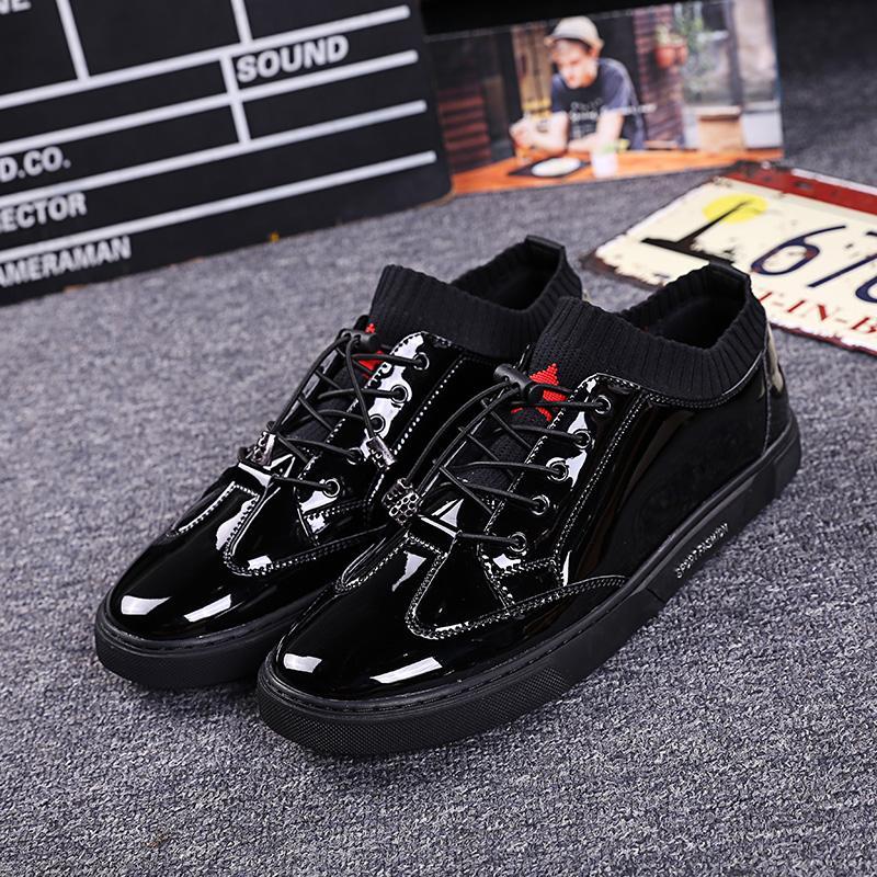 Trendsetter and versatile liang pi men sneakers new men's shoes Hx2027 black elevator