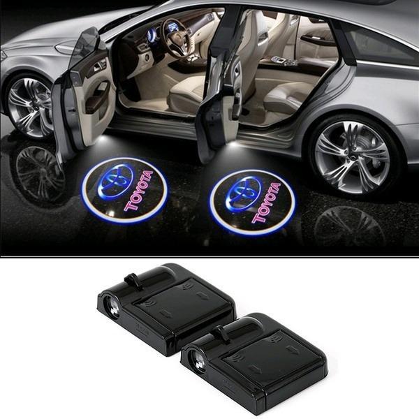 2PCS Wireless Welcome Light Car Door Light Projection Laser Light LED HD Logo Light for Toyota