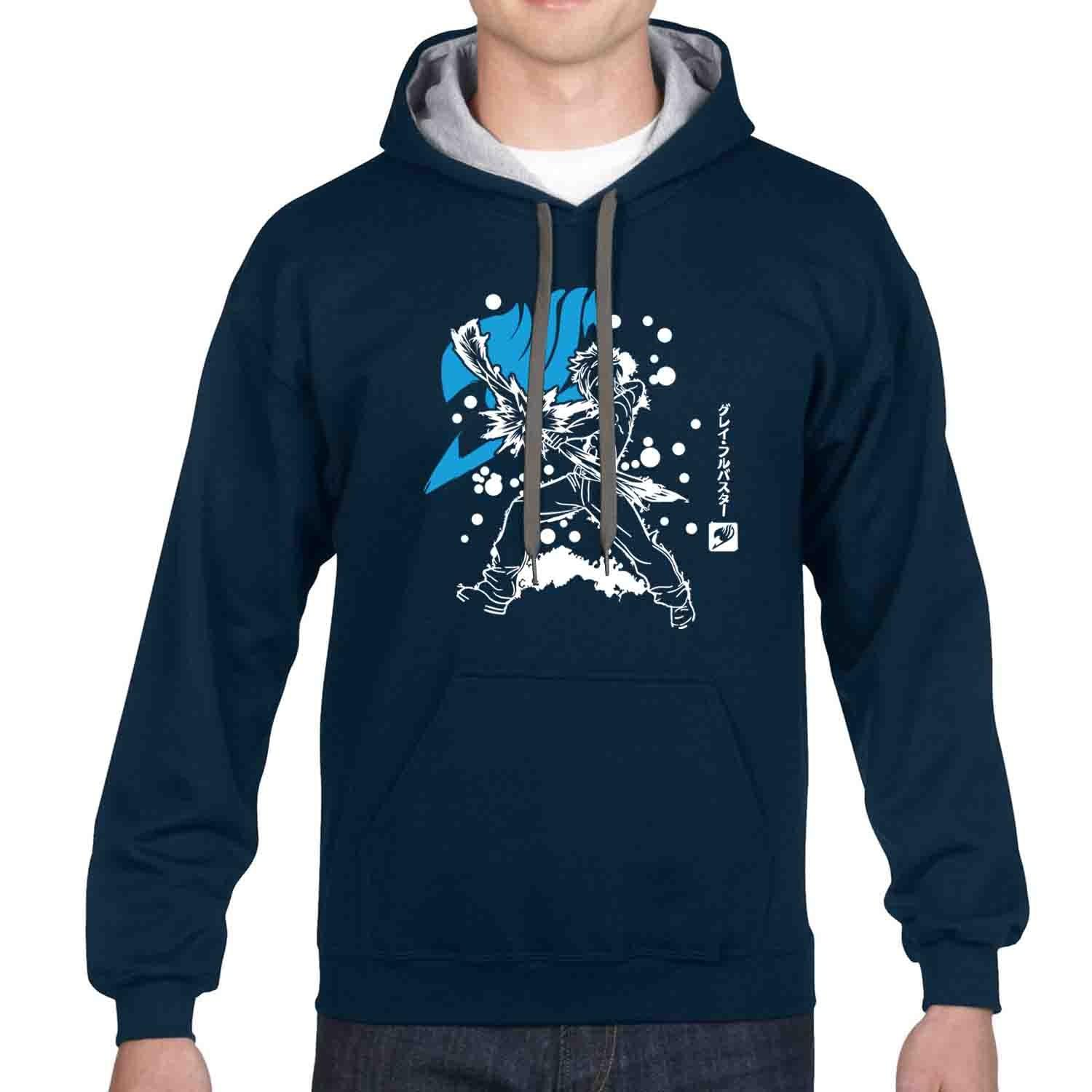 iGPrints Gray Fullbuster Fairy Tail Shadowed Design Contrast Hoodie Jacket Navy Blue Grey