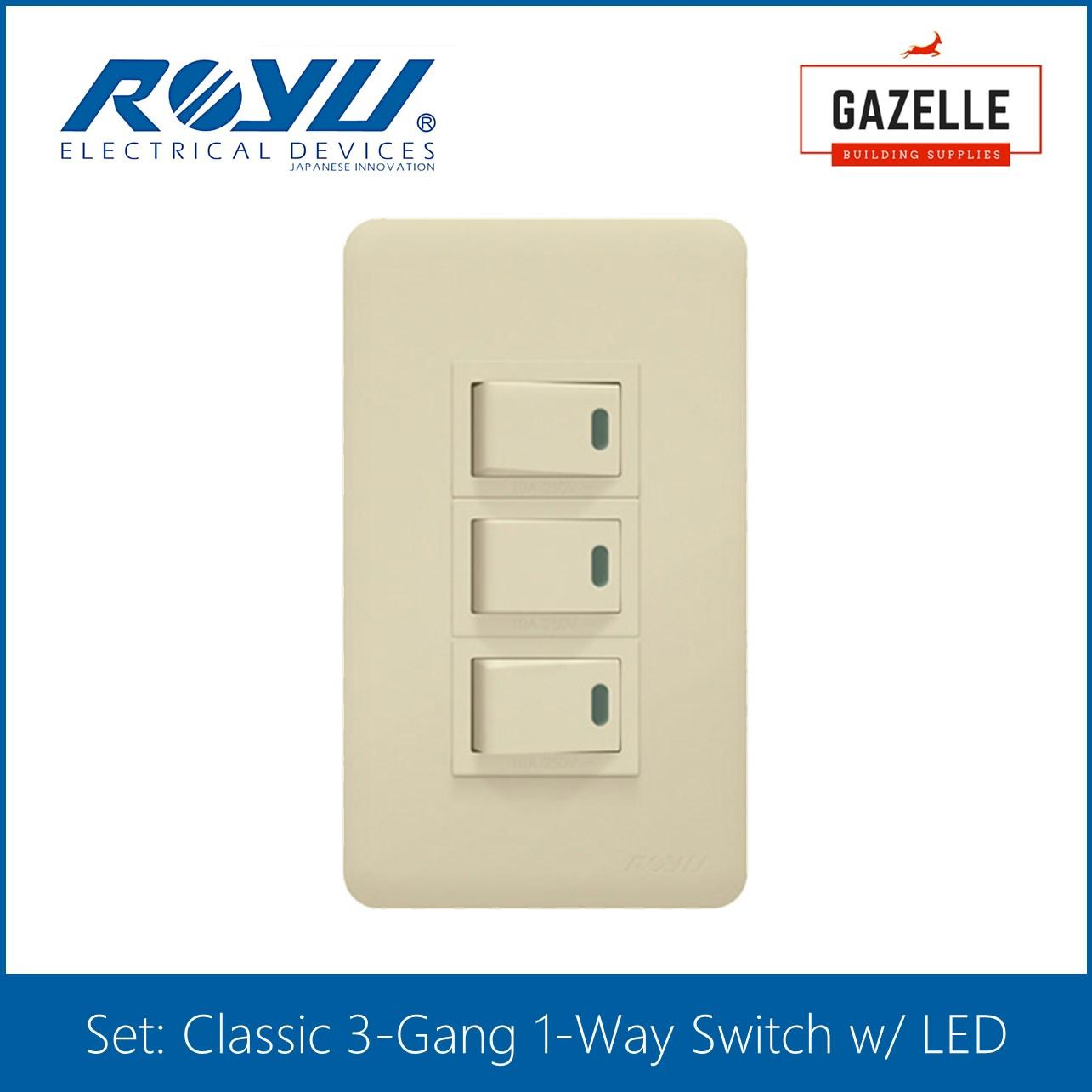 Price and specification 1 box royu thhn stranded wire 3 5mm new royu classic series 3 gang 1 way switch w led greentooth Image collections