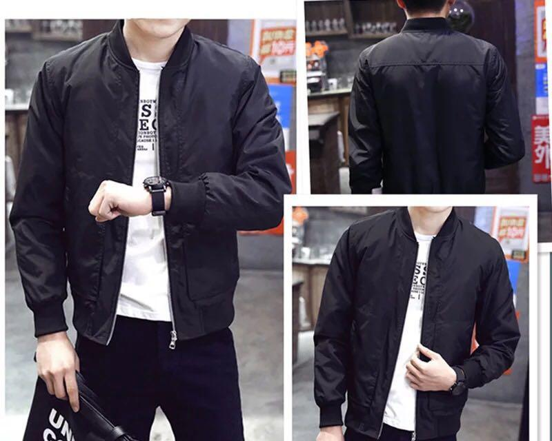 Orient 2017 New Korean Style Men Bomber Jacket Black Free 1socks