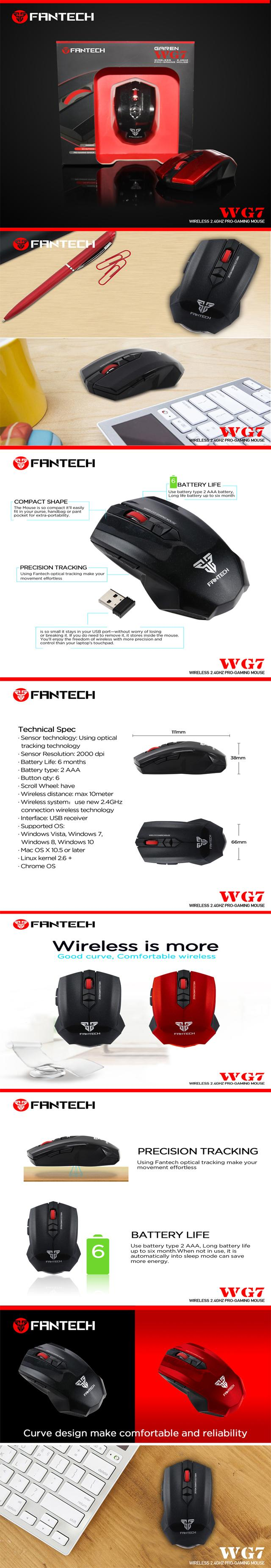 ea6768ae61c Specifications of FANTECH GAREN WG7 WIRELESS GAMING MOUSE