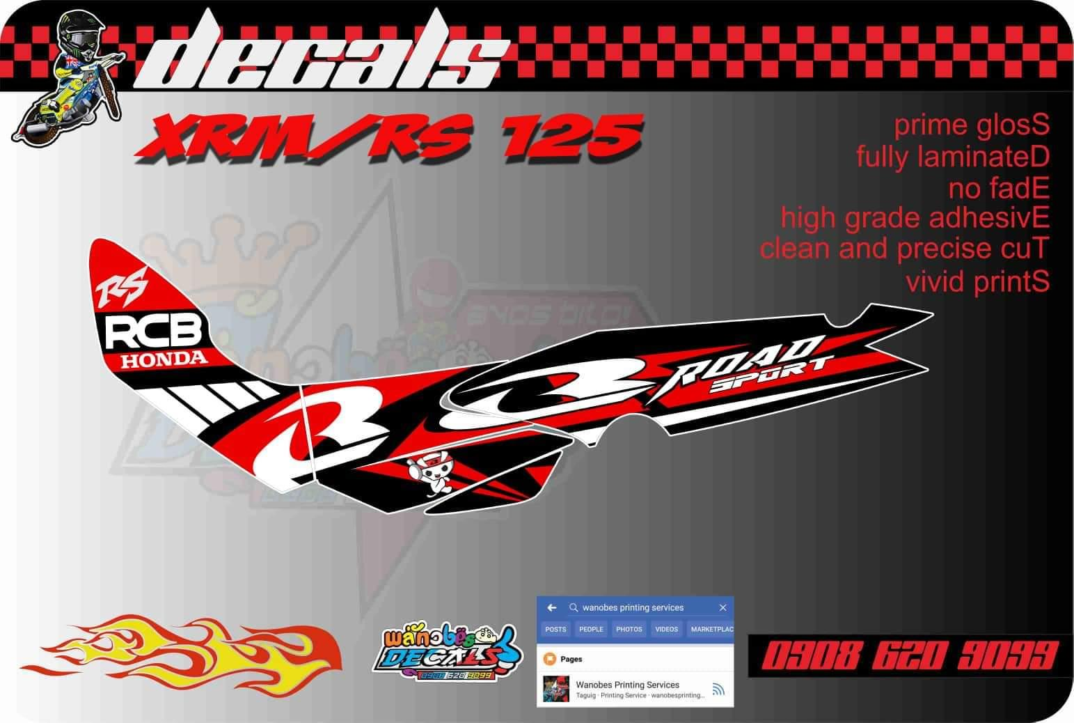 Honda xrm rs 125 red decals