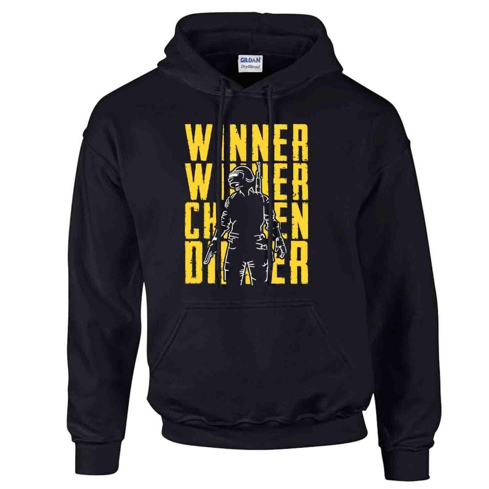 iGPrints Winner Winner Chicken Dinner PUBG Player Unknown Battleground Shadowed Design Hoodie Jacket Black