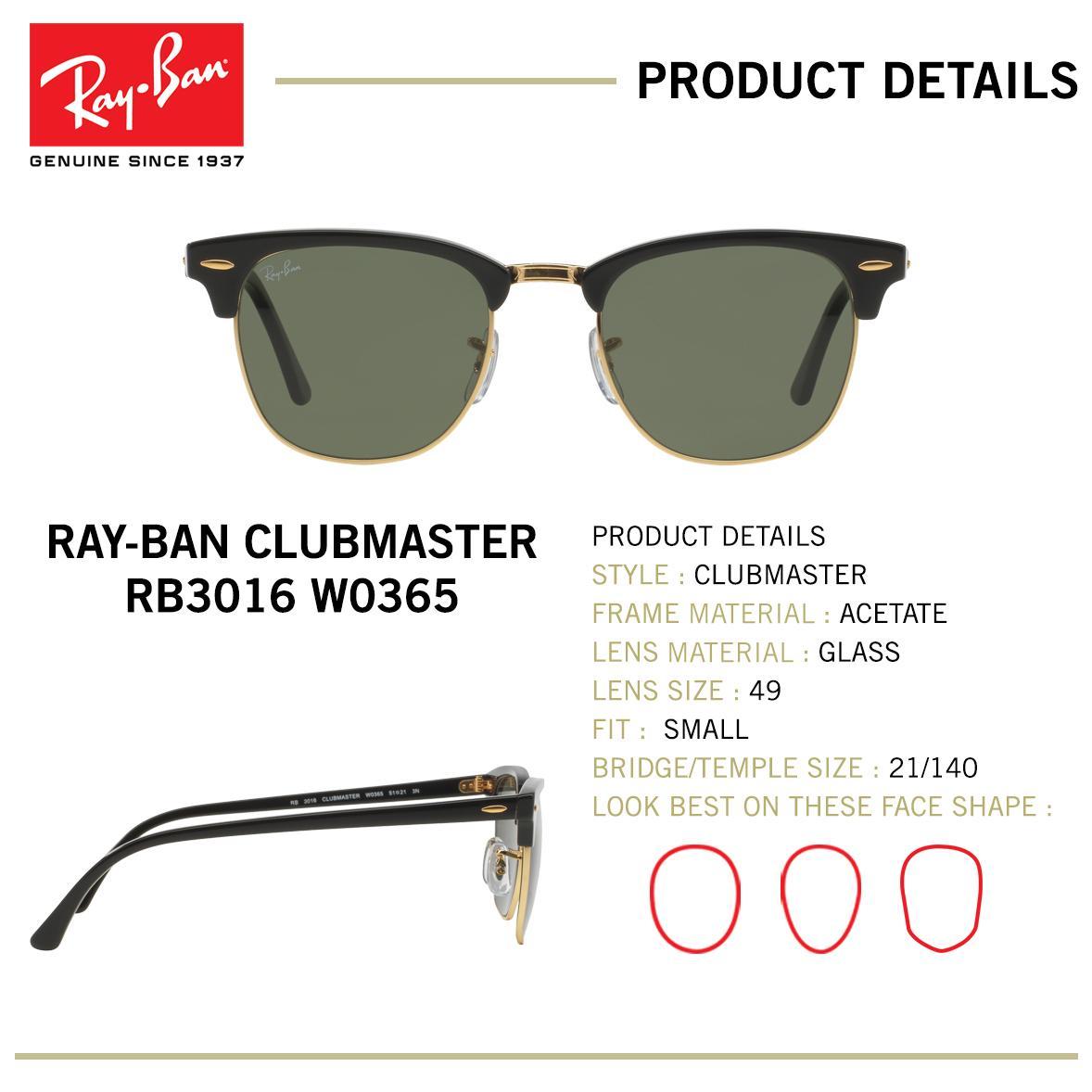 Ray-Ban Sunglasses Clubmaster RB3016 - Ebony/ Arista (W0365) Size 49 ...