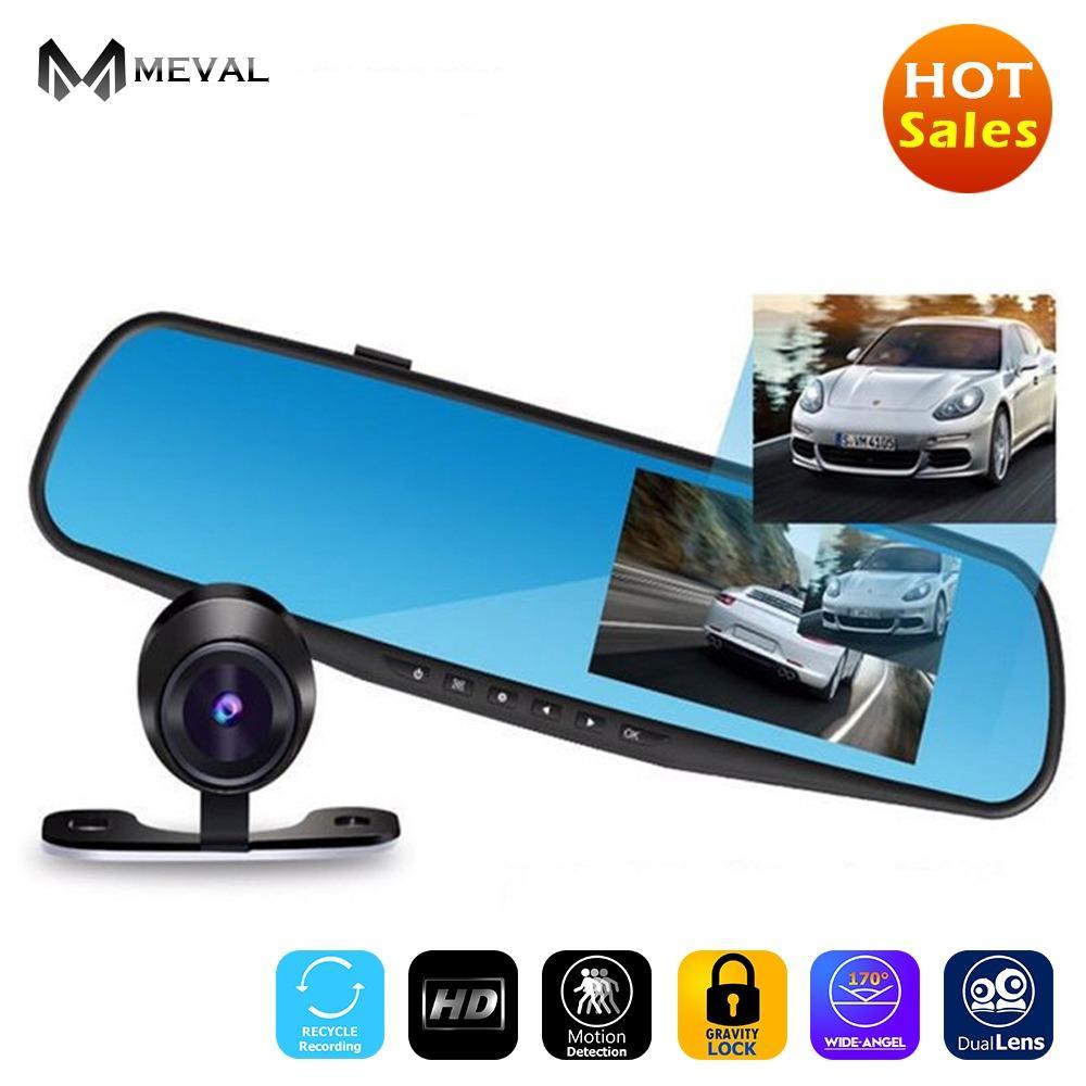 Meval VS4 Mobil DVR Lensa Ganda Full HD 1080 P Perekam Video Kaca 4.3 Cermin Inci dengan Rear View DVR Mobil-Intl