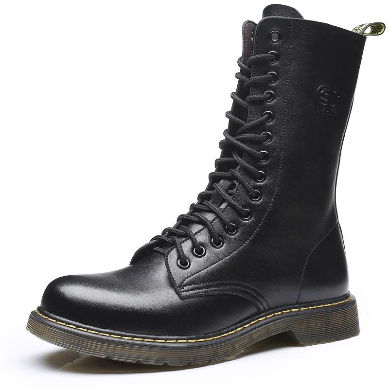leather spring New style men Dr Martens boots Black shoes