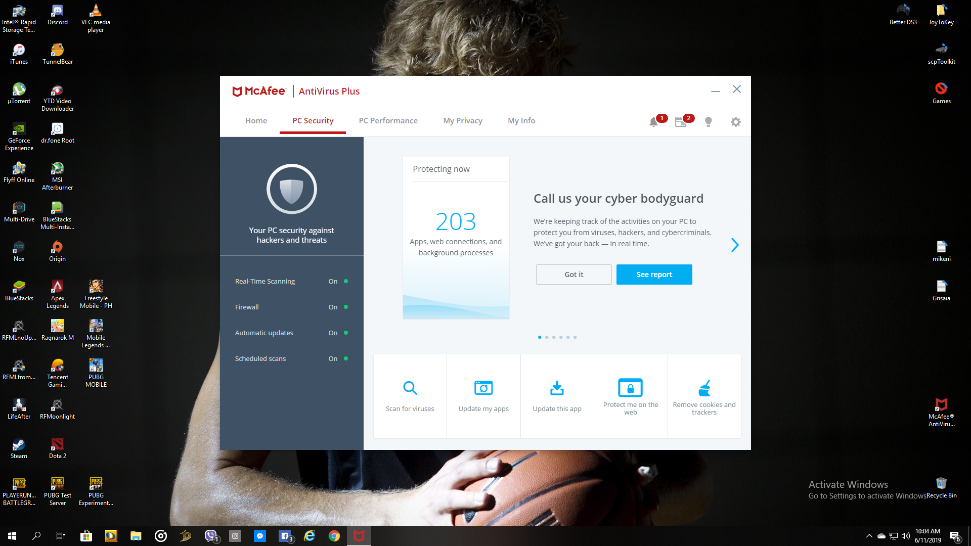 For Windows 10 McAfee Antivirus Plus 2019 10+ Years subscription till  8/16/2029