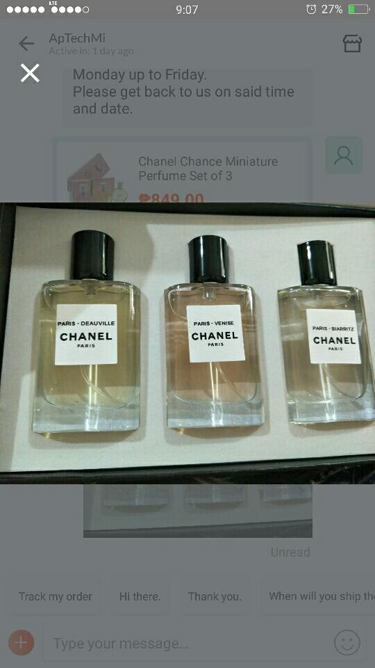 d92a0873 Chanel Chance Miniature Perfume Set of 3