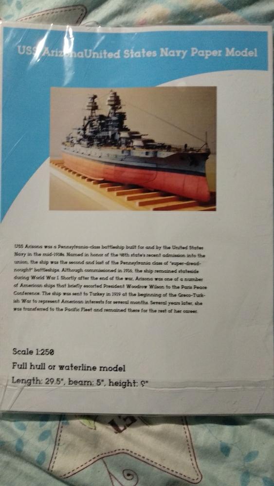 Scale 1:250 USS Arizona BB-39 Battleship DIY 75cm=30