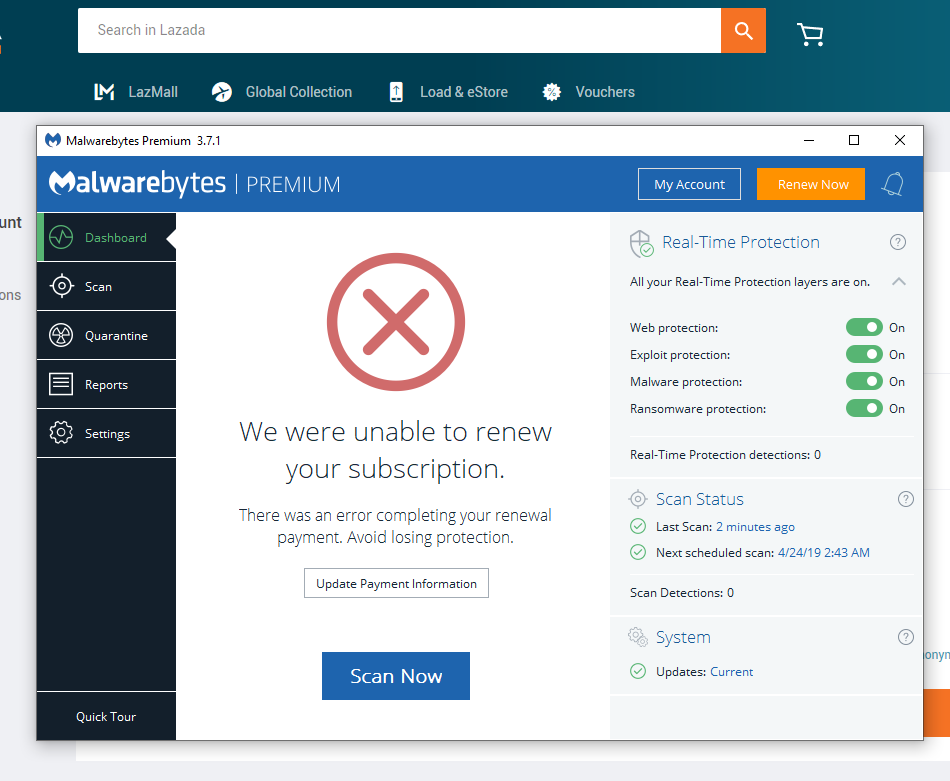Malwarebytes Premium 2019 Edition Lifetime License Key Anti Malware Anti  Virus Compatible With Windows 10 Windows 8 Windows Vista Windows XP