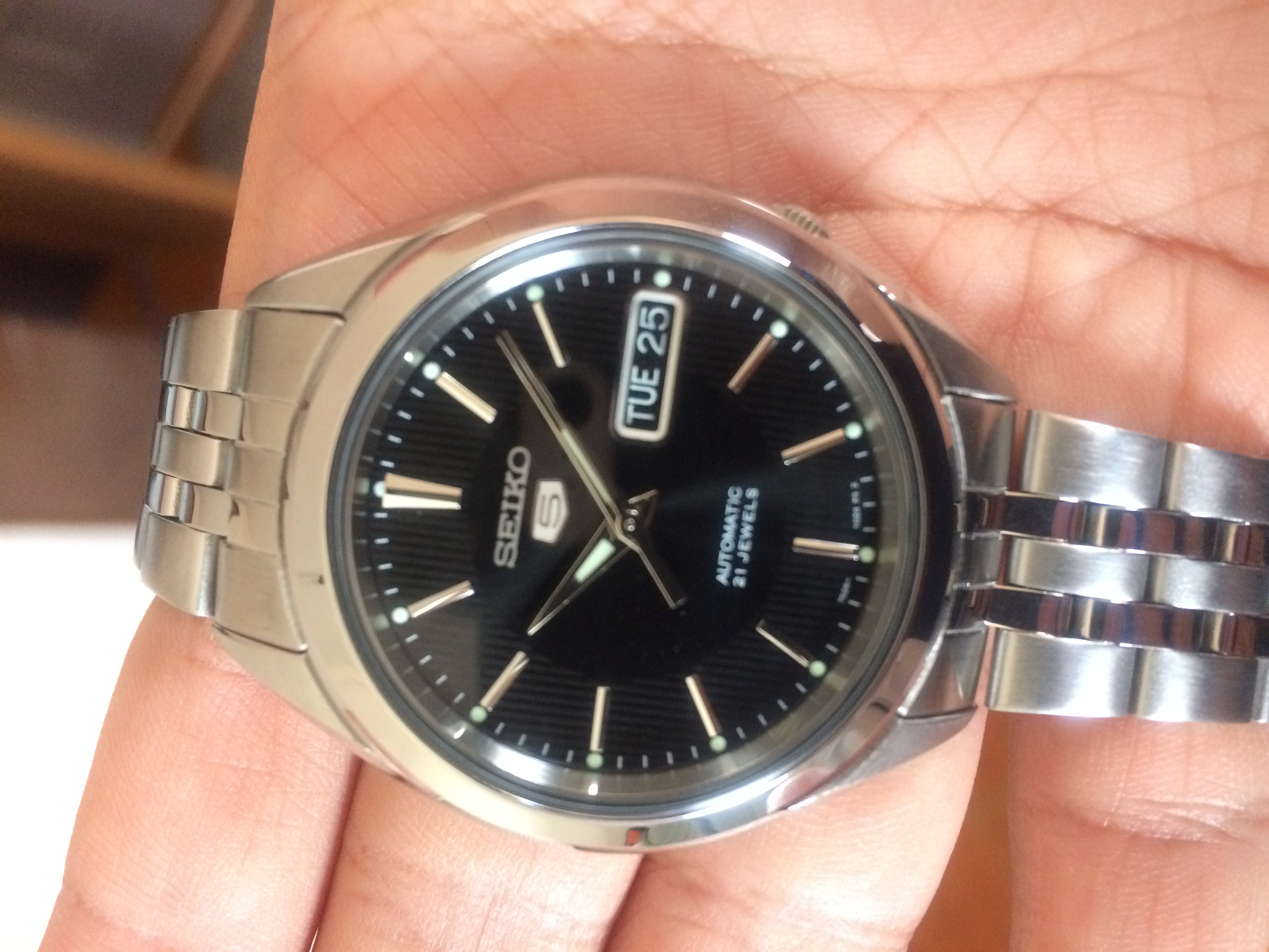 Seiko 5 Snkl23 Black Dial Stainless Steel Automatic Men S Watch