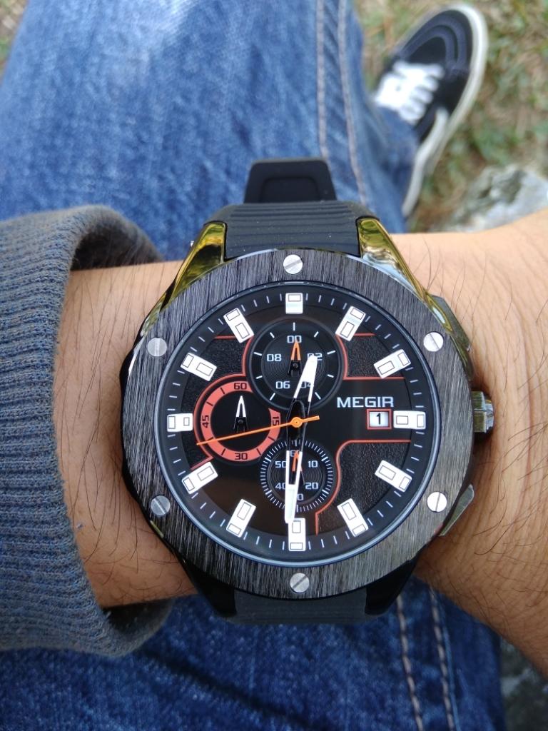 7029040cc7f0 MEGIR MN2053G Men Sport Watch Chronograph Silicone Strap Quartz Army  Military Watches - intl