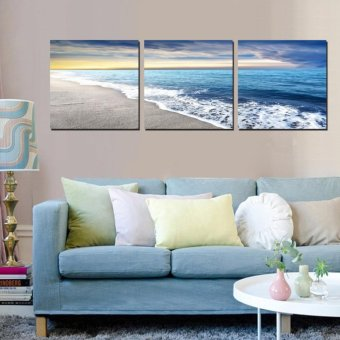 3 Panels Wall Art Pictures Beach Sandy Sea Wave Seascape Oil Painting On  Canvas For Room Decor Modern Living Room Decoration   Intl Part 74