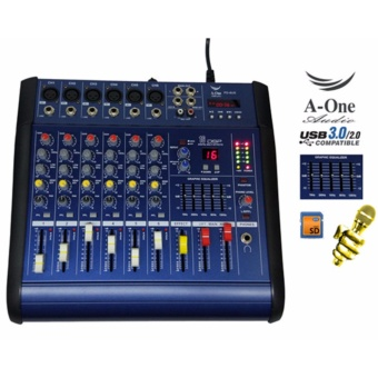 A-one PD-6US Super Hot Deals 6 Channels Professional Mic Line AudioMixer Mixing Console USB SD MP3 (Blue)