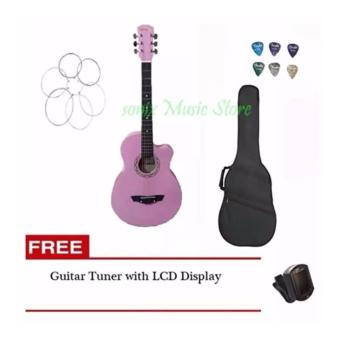 Arena Acoustic Guitar (Pink) with Guitar Case, LCD tuner, 6pcspick, 1 set of string(Pink)
