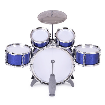 Children Kids Drum Set Musical Instrument Toy 5 Drums with Small Cymbal Stool Drum Sticks for Boys Girls Outdoorfree - Intl