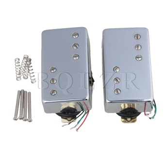Electric Guitar Bridge & Neck Humbucker Pickup Set of 2 Silver- intl
