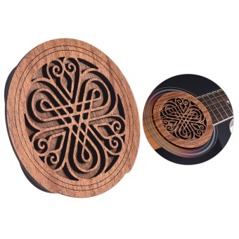 Guitar Wooden Soundhole Sound Hole Cover Block Feedback BufferMahogany Wood for EQ Acoustic Folk Guitars ^ - intl