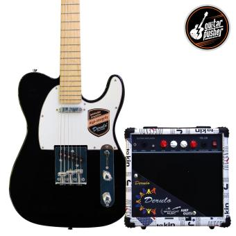 Harga Derulo Electric Guitar TELE Starter Pack with Amplifier and Freebies - Black