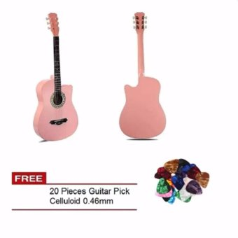 Harga Arena 38 Inch Acoustic Guitar For Beginner Pink Color with Free 20 Pcs Guitar Pick