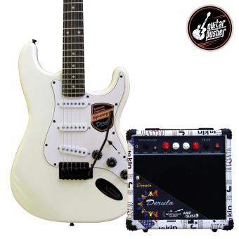 Harga Derulo Electric Guitar Stratocaster Starter Pack with Amplifier and Freebies - WHITE