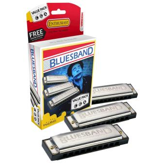 Harga Hohner 3P1501Bx Bluesband Harmonica- Pro Pack- Keys Of C- G- And A Major