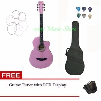Harga Arena Acoustic Guitar (Pink) with Guitar Case, LCD tuner, 6pcs pick, 1 set of string