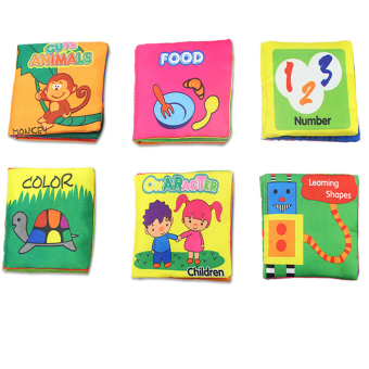 Harga Soft Cloth Book Baby Kid Child Intelligence Development Learning Shapes Number Cute Animals Color Character Food Cognize Book Fabric Book Quiet Rag Book - Intl