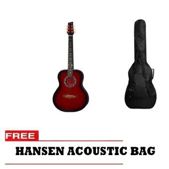 Harga Hansen Acoustic Guitar with Free Bag (Red)