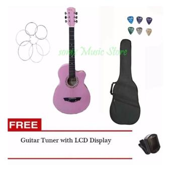 Harga Arena Acoustic Guitar (Pink) with Guitar Case, LCD tuner, 6pcs pick, 1 set of string(Pink)