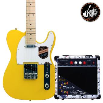 Harga Derulo Electric Guitar TELE Starter Pack with Amplifier and Freebies - YELLOW