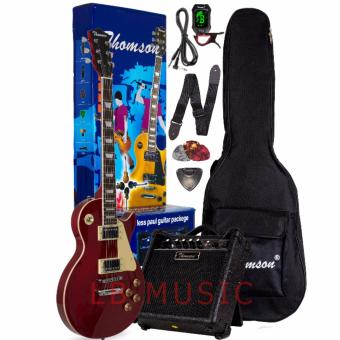 Harga Thomson Les Paul w/ heavy duty amp, tuner and Complete accessories Package Electric Guitar (RedWine)