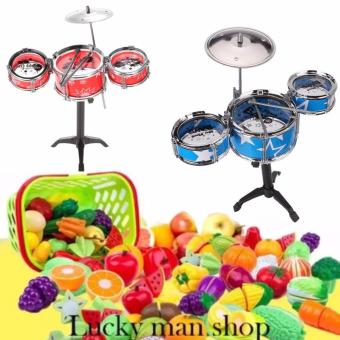 Jazz Drum Playset Percussion Musical Instrument Intelligence Educational Toy for Boy Girl Kids Baby Children Gift and Plastic Cutting Fruits and Vegetables Set with Dish Play Food Set for Pretend Play