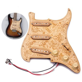 Loaded Prewired Wooden Guitar Pickguard Maple Wood Plate SSSPickups with Decorative Flower Pattern for Fender ST ElectricGuitars - intl