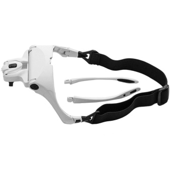OH Stylish Portable Head Wearing Eyeglass Mount Bracket MagnifierWith LED Light White - intl Price Philippines