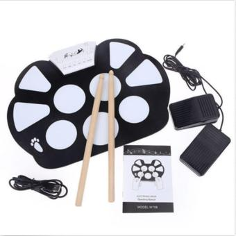Portable Electronic Roll up Drum Pad Kit Silicon Foldable with Stick US - intl