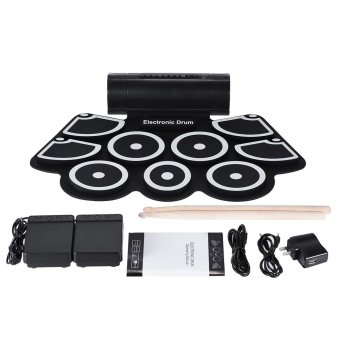Portable Electronic Roll Up Drum Pad Set 9 Silicon Pads Built-in Speakers with Drumsticks Foot Pedals USB 3.5mm Audio Cable Outdoorfree - intl