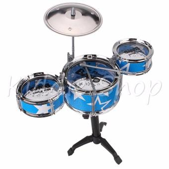 TH688-3 Jazz Drum Playset Percussion Musical InstrumentIntelligence Educational Toy for Boy Girl Kids Baby Children GiftBlue