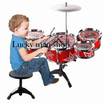 USA TOP ONE LAZADA BEST Jazz Drum+Chair Kids Early Education ToyPercussion Instrument Gift (Red)