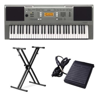 Yamaha PSR-E353 Keyboard with Double X-Stand and Sustain Pedal(Silver)