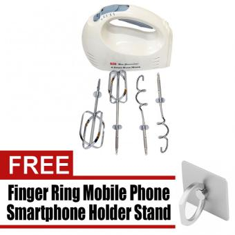 3D TSK-942 Hand Mixer (White) with free Finger Ring Mobile PhoneSmartphone Holder Stand for iPhone (Silver)