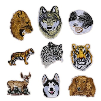 9 PCS Cool Animal Embroidery DIY Clothes Patches Tiger Lion LeopardWolf Patches for T-shirt Jeans Clothing Bags - intl