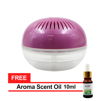Air Purifier and Air Revitalizer with Colorful LED Lights andAdapter (Purple) with FREE Aroma Scent Oil 10ml