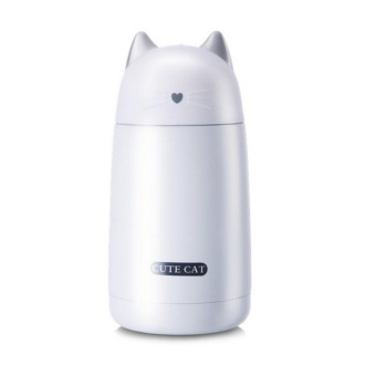 Ajusen Cute Cat Thermos Cup Kids Thermo Mug Drinkware Child WaterBottle Stainless Steel Vacuum Flask Portable Leak-proof Tumbler -intl