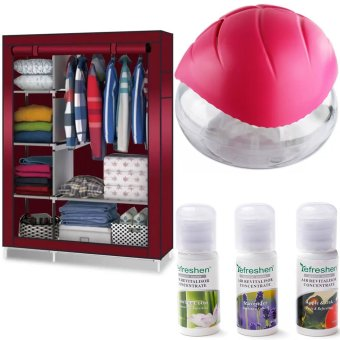 Good Air Refreshen Air Purifier (Fushia Pink) with 88105 StorageWardrobe Clothes Organizer (Red) and Humidifier Scent Starter KitsAroma Series Set (White)